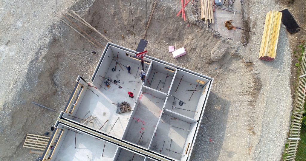 Luftaufnahme Hausbau Keller